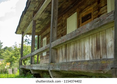Old wooden rural house in a mountainous area in the Carpathians.