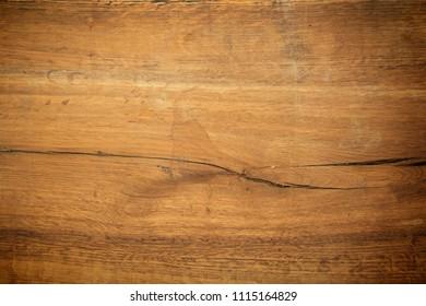 Old wooden rustic kitchen desk texture background.