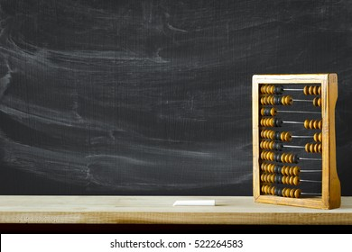 Old wooden scratched vintage decimal abacus on a desktop with blank for inscription for the background