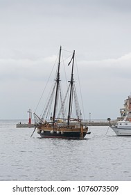 Old Wooden Shail Ship With Two Masts in Port