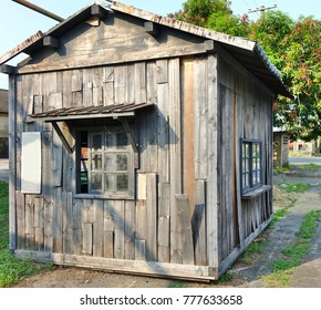 An old wooden shed that shows signs of decay