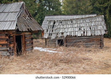 Old wooden shelters used by shepherd while sheep pasturing.