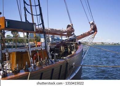 Old wooden ship in the port of Wismar