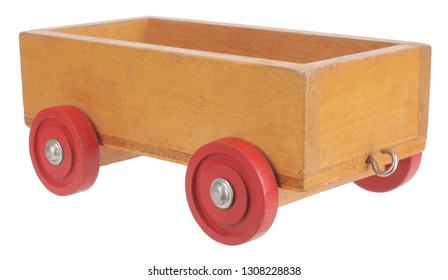 Old wooden sidecar trailer toy