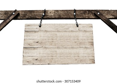 old wooden signboard with chains in white background.