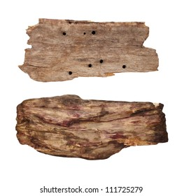 Old wooden signpost isolated on white background