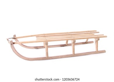 old wooden sled winter sport