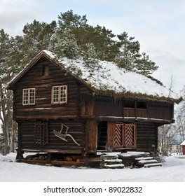 """Old wooden """"stabbur""""; combined storage and living quarters"""
