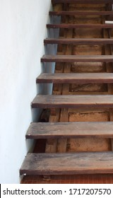 Old wooden stairs suitable for presentation.