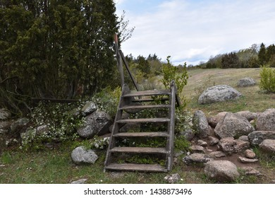 Old wooden stile crossing a broken dry stone wall at the swedish island Oland
