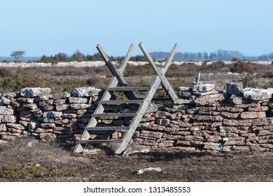 Old wooden stile crossing a traditional stone wall at the swedish island Oland