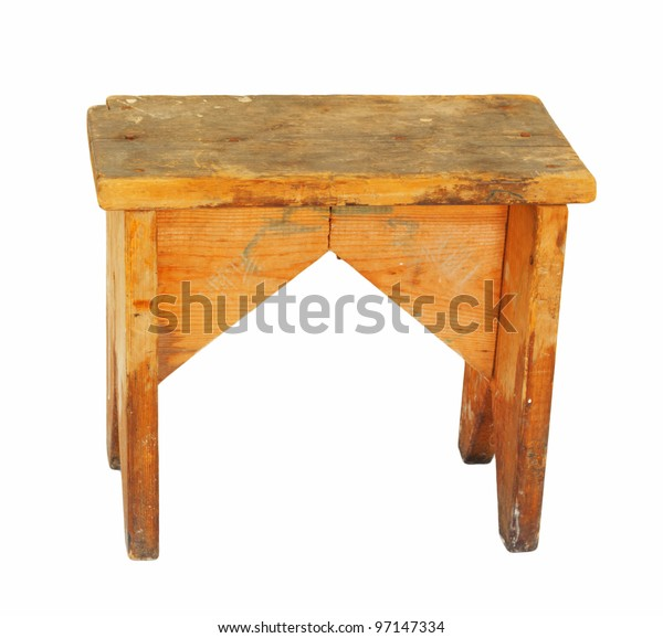 Old Wooden Stool Isolated