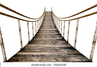 Old wooden suspended bridge isolated on white background. 3D illustration.
