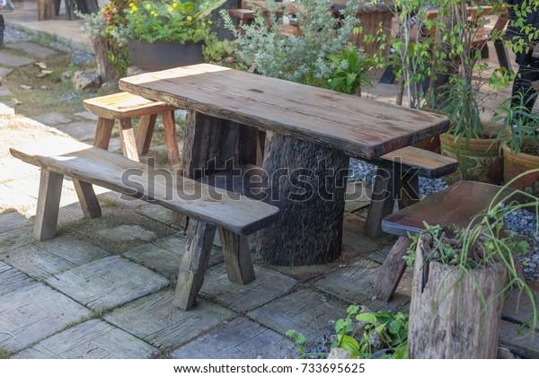 Groovy Old Wooden Table Benches Garden Stock Photo Edit Now 733695625 Inzonedesignstudio Interior Chair Design Inzonedesignstudiocom
