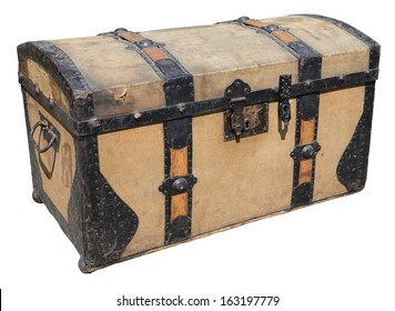 Old wooden trunk with metal elements isolated on white.