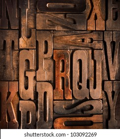 old wooden typographic blocks background