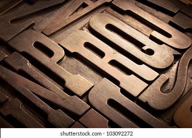 old wooden typographic blocks in perspective