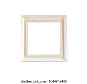 Old wooden vintage Photo frame isolated on white background and have clipping paths with create from pen tool function of Photoshop.