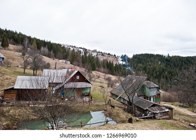 Old wooden vintage and rusty house at Carpathian mountains.