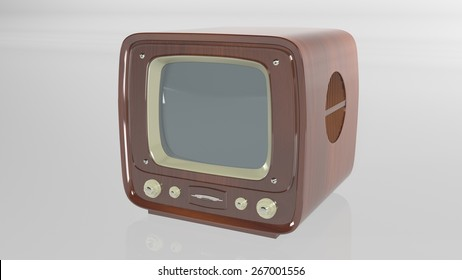 Old Wooden Vintage TV isolated on white background