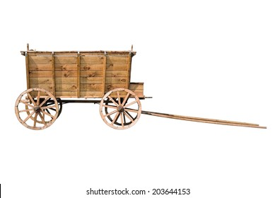 Old wooden wagon isolated on white background