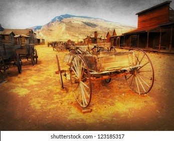 Old Wooden Wagons in a Ghost Town, Cody, Wyoming, (my own artistic version)