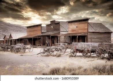 Old Wooden Wagons in a Ghost Town, Cody, Wyoming, United States