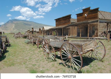 Old Wooden Wagons in a Ghost Town