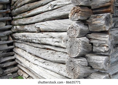 old wooden wall made from beams