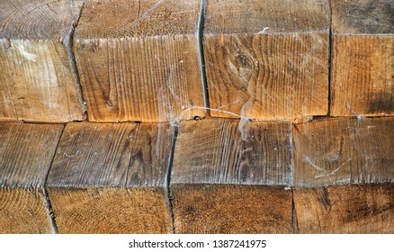 old wooden wall of the rural house. Wooden bars with texture, rural style background.