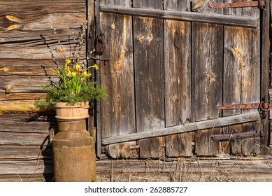 Old wooden wall and still life