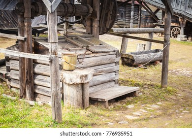 Old wooden well in Russian village