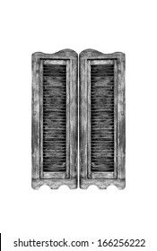 Old wooden western swinging Saloon doors isolated on white background.