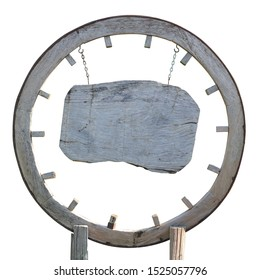 Old wooden wheel, cartwheel, that was modified into board, isolated on white background.