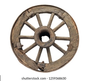 old wooden wheel on a white background, isolated