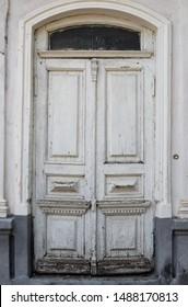 old wooden white door exit