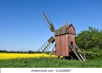 Old wooden windmill by a blossom canola field at the swedish island Oland