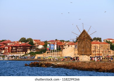 old wooden windmill landmark Nessebar cityscape Bulgaria