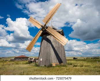 Old wooden windmill. open-air museum.