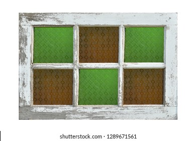 Old wooden window with color glass isolated  on white background. This has clipping path.
