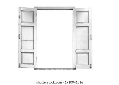 Old wooden window frame painted white vintage isolated on a white background