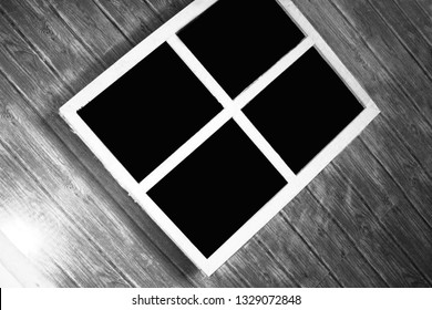Old wooden window frames can be used as background images.
