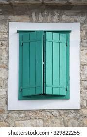 Old wooden window at Korcula, Croatia