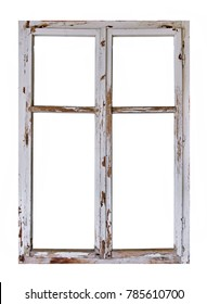 Old wooden window on white background