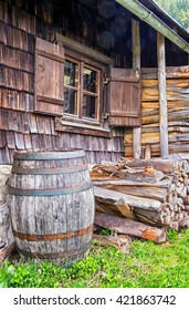 old wooden wine cask at a farmhouse