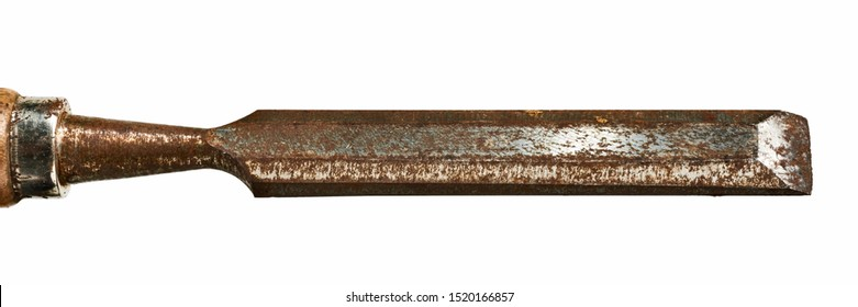 Old woodwork chisel with wood handle isolated on white background with clipping path