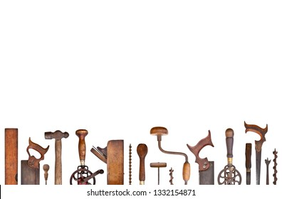 Old woodwork tools isolated on white background