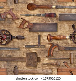 Old woodwork tools on rag texture repeating tileable background. Image repeats up, down, left and right