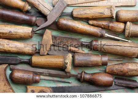 Old Woodworking Tools Arranged On Green Stock Photo Edit Now