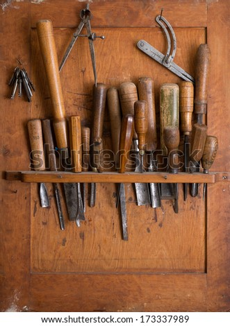 Old Woodworking Tools Carpentry Shelf Close Stock Photo Edit Now